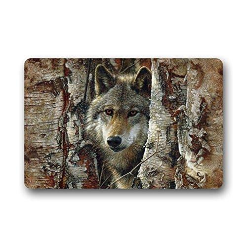 Door Mat Wolf - Hi,Doormat Art Wolfs Doormat Welcome Mat Shoe Scraper Machine washable Floor/Bath Decor Mats Rug