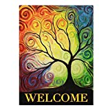 ALAZA Colorful Rainbow Tree Branch Double Sided House Flag Garden Banner 28″ x 40″, Abstract Tree Of Life Summer Spring Autumn Garden Flags for Anniversary Yard Outdoor Decoration For Sale