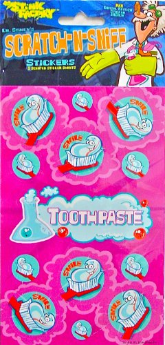Dr Stinky's TOOTHPASTE Scratch-and-Sniff Stickers, 2 sheets 4 x 6 3/4, 26 - For Scratches Toothpaste