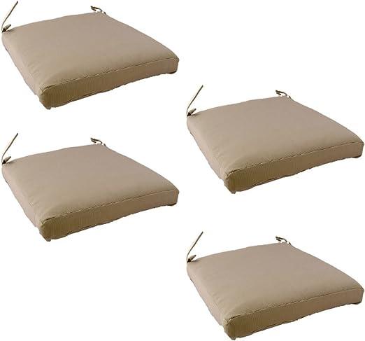 Edenjardi Pack 4 Cojines para sillas y sillones de jardín Color Lux Arena, Tamaño 44x44x5 cm, Repelente al Agua, Desenfundable: Amazon.es: Jardín