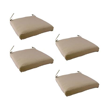 Edenjardi Pack 4 Cojines para sillas y sillones de jardín Color Lux Arena, Tamaño 44x44x5 cm, Repelente al Agua, Desenfundable