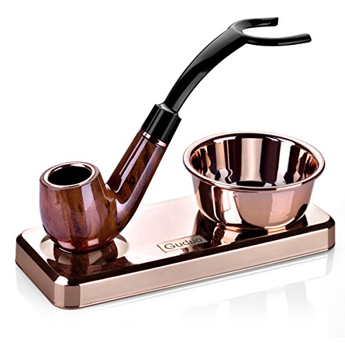 Brush Deluxe Metal (GUDUO Compatible Shaving Kit Deluxe Chrome Razor and Brush - Best Design Razor Stand with Razor Brush Blades and Bowl Stand (Rose Gold))