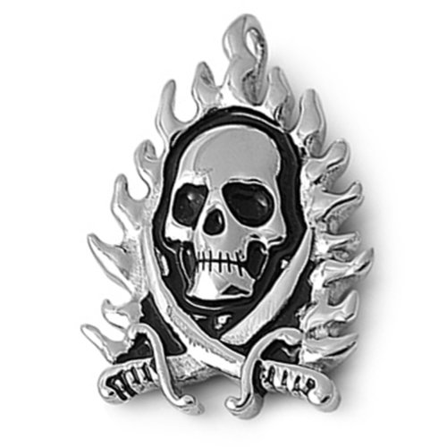 JewelryVolt 316L Steel Pendant Necklace Flaming Skull with Cross Swords and Free Ball Chain - Flaming Skull Necklace