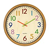 LENRUS Kids Cute Wall Clock 12.5 Inch Large Silent Non ticking Colorful Decorative Wall Clocks Battery Operated Easy To Read Clocks In Children's Bedroom