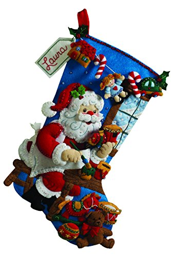 Stocking Embroidery Design (Bucilla 18-Inch Christmas Stocking Felt Applique Kit, 86165 The Workshop)