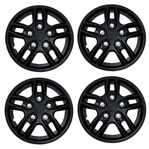 Tuningpros WC3-15-515-B - Pack of 4 Hubcaps - 15-Inches Style 515 Snap-On (Pop-On) Type Matte Black Wheel Covers Hub-caps ()