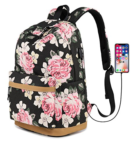 Abshoo Cute Canvas Floral Backpacks for Teen Girls School Bookbags (Floral - Cute Girls With
