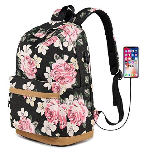Abshoo Cute Canvas Floral Backpacks for Teen Girls School Bookbags (Floral - Girls With Cute