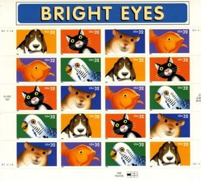 Bright Eyes Pets, Full Sheet of 20 x 32-Cent Postage Stamps, USA 1998, Scott 3230-34 - Dog Postage Stamp