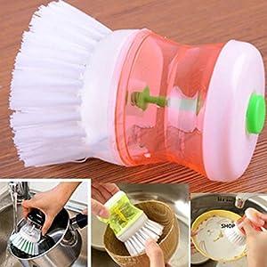 Dishwashing Brush, Iusun Kitchen Household Washing Utensils Pot Dish Brush With Washing Up Liquid Soap Dispenser (Random)