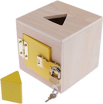 CUTICATE Creative Montessori Lock Box Kids Niños Juguetes Educativos De Entrenamiento- Materiales Educativos De Madera Montessori Juguete Sensorial - Amarillo: Amazon.es: Juguetes y juegos