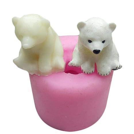 Creativo 3D Oso Polar moldes para Hornear Aromaterapia Yeso Exhibición de Coches Vela Molde de Yeso