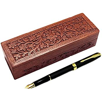 Xmas Present, Wooden Pencil Box Flower Design Carving Work, Pencil Storage  Box, Office
