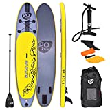 COSTWAY 11FT SUP Inflatable Stand Up Paddle Board W/Carry Bag, Repair Kit, Tail Vane, Adjustable Paddle, Hand Pump with Pressure Gauge, Ideal Beginners Soft Surfing Board Kit (Yellow 335x76x15cm)