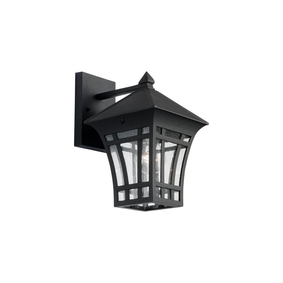 Sea Gull Lighting 88132 12 Herrington 1 Light Outdoor Wall Lantern with Clear Seeded Glass, Black Finish