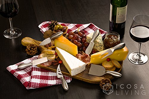 LUNAR Premium 6-Piece Cheese Knife Set - Complete Stainless Steel Cheese Knives Collection by ICOSA Living (Image #1)