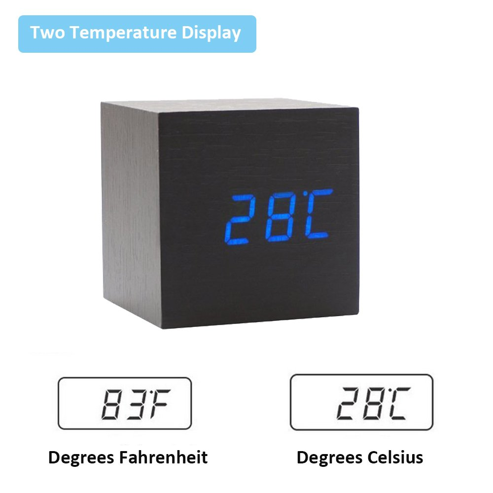 Onerbuy Wooden Digital Cube Alarm Clock Toque Sound Activated Desk Clock Reloj de Viaje portátil con Pantalla LCD para Tiempo, Temperatura, Calendario, ...