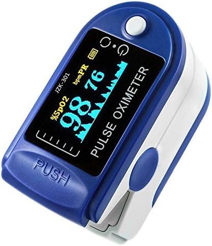 leegoal Pulsímetro oxímetro de pulso Led digital de lectura instantánea sensor con monitor de frecuencia cardíaca y funda para atención médica familiar Azul