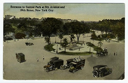 Entrance to Central park at 5th Avenue and 59th Street, New York City, 1918 |Historic Postcards | Vintage Antique Poster - 59 Avenue Fifth