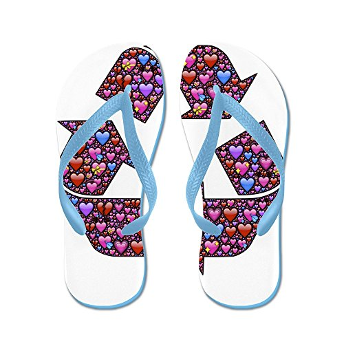 Truly Teague Mens I Love to Recycle Symbol with Hearts Rubber Flip Flops Sandals Caribbean Blue G0RwR9dMl