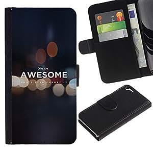 // PHONE CASE GIFT // Moda Estuche Funda de Cuero Billetera Tarjeta de crédito dinero bolsa Cubierta de proteccion Caso Apple Iphone 5 / 5S / YOU ARE AWESOME - MOTIVATIONAL /