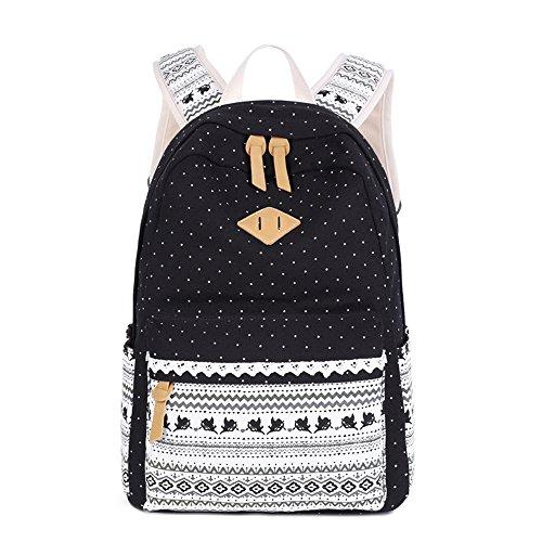 LuckyZ Women Girls Backpack Lightweight Canvas Leather Daykpack Laptop School Bag Cute Printng Travel Shoulder Bookbags Cupid Black