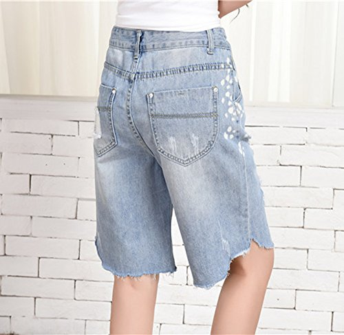 rasgados de vaqueros delgados las pantalones flojos de mujeres mezclilla cortos Pantalones fIqxwZtFB