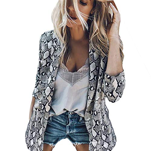 (Nadition Womens Jackets Fashion Vintage Snake Print Coats Turn Down Collar Long Sleeve Female Outerwear Jackets)