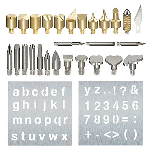 Tips and Stencils for Wood and Leather Pyrography Pen Kit, 28 Pcs Assorted Wood Burning Carving Soldering Tips, Replacement Wood Burning Tips for Woodburners