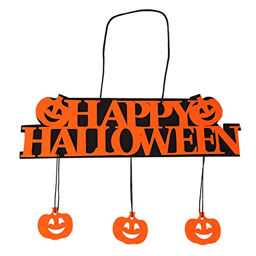 Nixikoo Happy Halloween Sign - Halloween Pumpkin Sign Decorated - Pumpkin Door Decoration - Halloween Wall Hanging - Halloween Party Pumpkin Decoration Banner