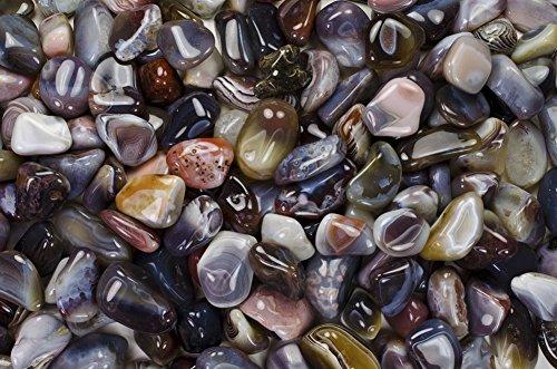 Fantasia Materials: 1 lb Tumbled Grey Botswana Agate AA Grade Stones from Botswana - Large 1