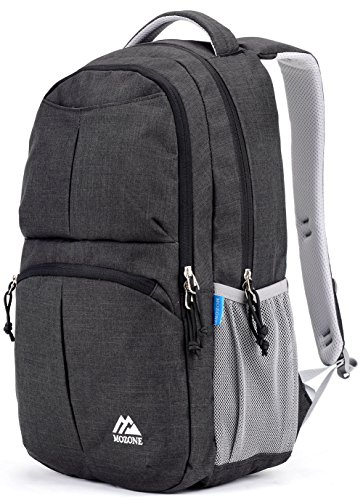 Mozone Large Lightweight Water Resistant College School Laptop Backpack Travel Bag (Black)