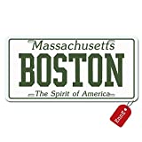#10: EnnE Personalized Metal License Plate Cover Massachusetts Boston For Car 4 Holes Car Tag 12 inch X 6 inch