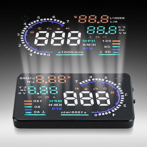 KKmoon 5.5 Inches Plug & Play OBD2 Auto Car Windshield HUD Head Up Display KM/h & MPH Information Display Modules