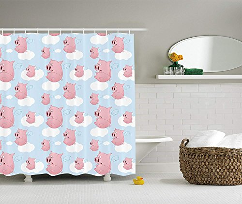 Nyngei Pig Decor Collection Frightened Cartoon Pigs Flying Clouds Across The Open Sky Design Polyester Fabric Bathroom Shower Curtain Set with Hooks 70.8x70.8in Extra Long Blue White Pink