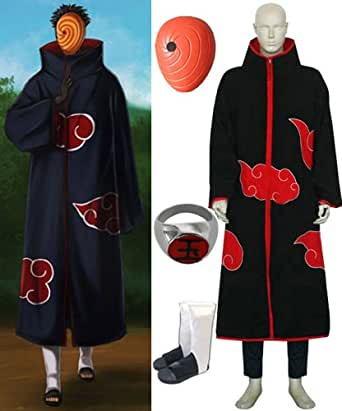 Naruto Itachi Tobi Hood cosplay costume and shoes set , size S