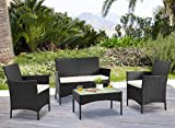 YOUKE Rattan Garden Furniture Set 4 piece set table chair sofa Patio Conservatory Indoor Outdoor (Black)