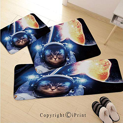 Space Cat 3D Non-Slip Kitchen Mat Runner Rug Set,3pc Kitchen Rug Set,Kitten with Space Suit Planets Nebula Supernova Eclipse Artwork,for Entryway Kitchen and Bedroom,White Orange and Dark Blue