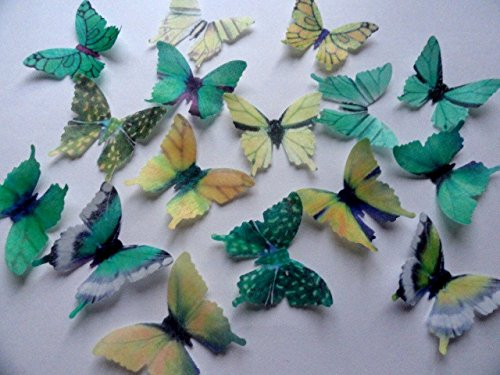 GREEN & YELLOW Small Assorted Set of 12 Edible Butterflies 1.75 for decorating Macaron Cookies, Wedding Cake and Cupcake Toppers, Edible Wafer Paper (Plant Green Color Machine)