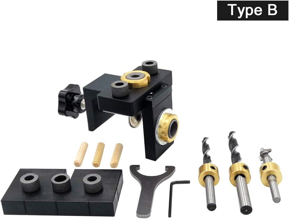 localizador de perforaci/ón 3 en 1 herramienta de carpinter/ía con clavijas kit de plantilla de orificios de aluminio Juego de sistema de plantilla de orificios de bolsillo posicionador de bolsillo