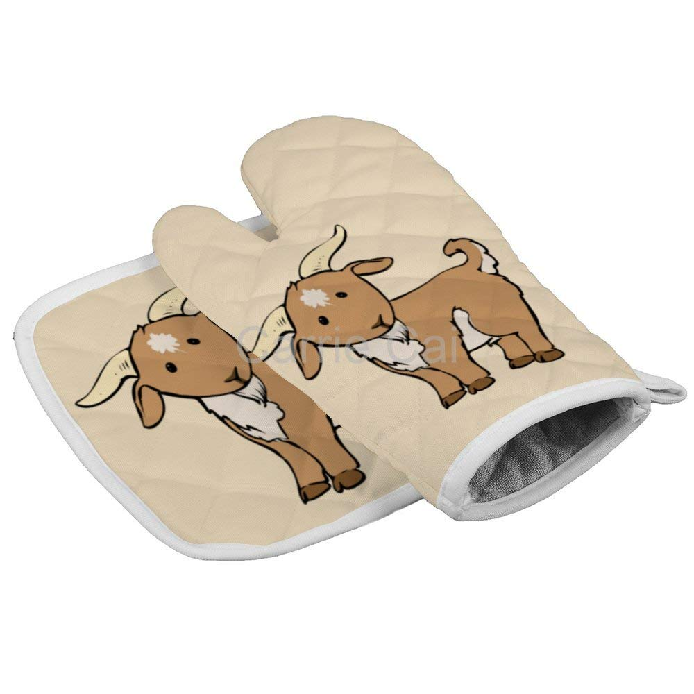 Goat Cartoon Geek Oven Gloves Microwave Gloves Barbecue Gloves Kitchen Cooking Bake Heat Resistant Gloves Combination