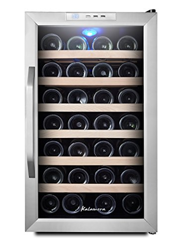 Kalamera Wine Cooler 28 Bottle S.S door and curved handle, wood shelves, digital control … by Kalamera