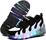 LED Light Up Skate Shoes Sneakers Shoes with Wheels Girls Boys Roller for Kids Christmas Halloween Gift(Black 10 M US Toddler)