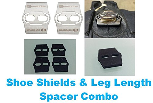 (Good Vibration Leg Length Spacer Shim for Crank Brothers EGGBEATER Pedal + Shoe Shield + Wedge (Black, 6mm spacers+Shoe Shield+Wedge))