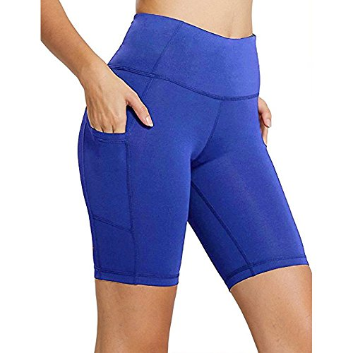 RUIVE Women's Shorts Yoga Pockets Workout Leggings Sports Gym Stretchy Tights High Waist Solid Color Athletic Pants Blue ()