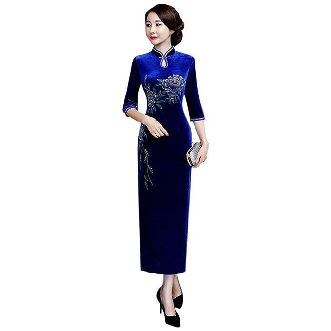 ea0e6ac713ba Xinvision Cinese Qipao in Velluto Vintage per Donna Abito Lungo Cheongsam  Sera Abiti  Amazon.it  Abbigliamento