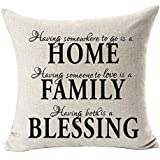Nordic Simple Warm Sweet Quotes Black Home Family Blessing Cotton Linen Throw Pillow Case Personalized Cushion Cover NEW Home Office Bay Window Decorative Square 18 X 18 Inches