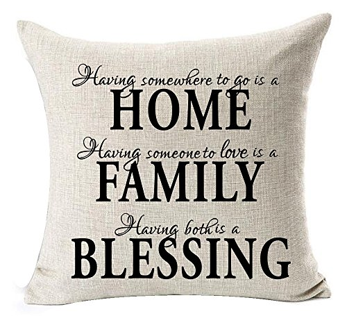 Andreannie Nordic Simple Warm Sweet Quotes Black Home Family Blessing Cotton Linen Throw Pillow Case Personalized Cushion Cover New Home Office Bay Window Decorative Square 18 X 18 Inches
