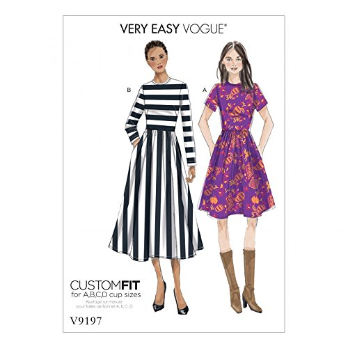 Vogue Ladies Easy Sewing Pattern 9197 Jewel Neck, Gathered Skirt Dresses with Cup Sizes ()