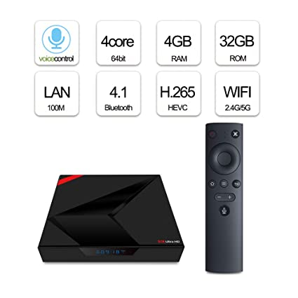 Android 8 1 Smart TV Box,4+64G ROM TV Receiver 4K 1080P WiFi Media
